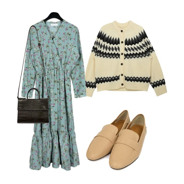 MIXXMIX 빈티지 캔디 가디건,daily monday Lavender crease dress,AIN lost simply loafer (225-250)등을 매치한 코디