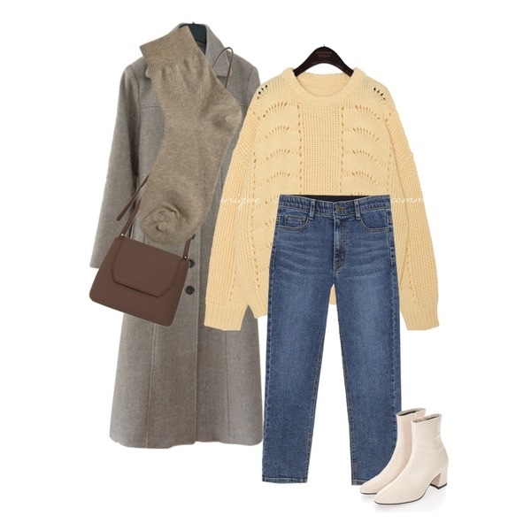 AFTERMONDAY steady round button coat (2colors),AWAB (예쁘진)톡톡마감일자팬츠,common unique [TOP] CHAPEL PUNCHING ROUND KNIT등을 매치한 코디