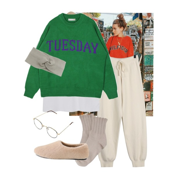 OOTD,daily monday Cozy ribbed knit pants,From Beginning Basic chance cotton T_B (size : free)등을 매치한 코디