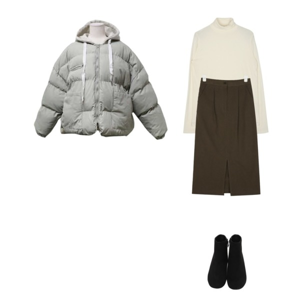 From Beginning Grass suede boots_S (size : 225,230,235,240,245,250),AIN from cotton midi skirt,openthedoor slim-fit pola T (4 color)등을 매치한 코디