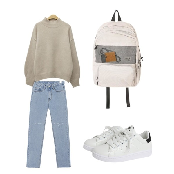 Monobabie [RK1299] 스네인2.5cm,ROCOSIX mesh two pocket backpack,common unique [BOTTOM] MOMO SLIM CUTTING DENIM PANTS등을 매치한 코디