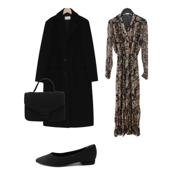LOVELY SHOES 발론 플랫슈즈 2cm,AFTERMONDAY charming floral pattern dress (2colors),From Beginning Single long wool coat_S (울 90%) (size : free)등을 매치한 코디