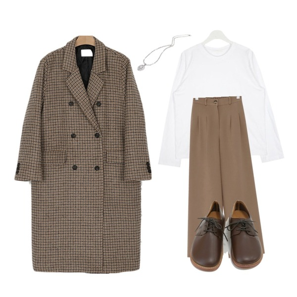 somedayif confirm solid classic coat (2colors),AIN with colorful round T,From Beginning Wide pin-tuck loose slacks_K (기모) (size : free)등을 매치한 코디