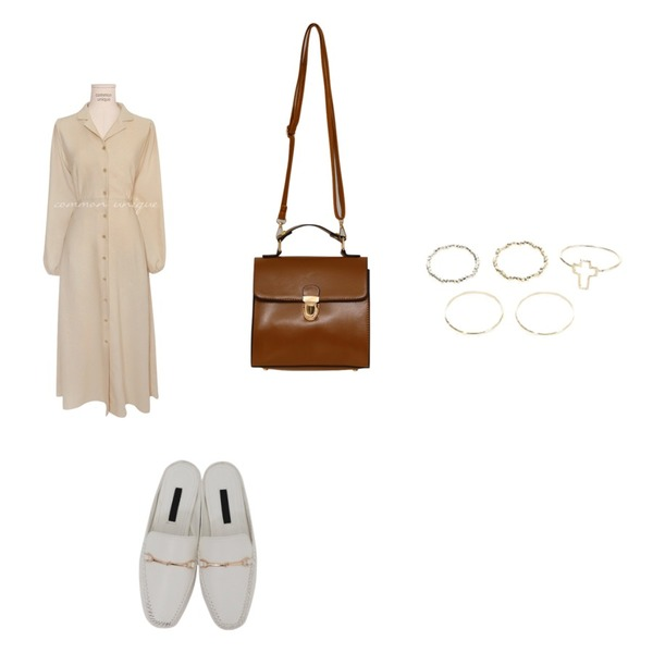 common unique NUSS COLLAR STRAP LONG OPS,From Beginning Mud soft buckle bloafer_M (size : 230,235,240,245,250),From Beginning Glossy square hand bag_B (size : one)등을 매치한 코디