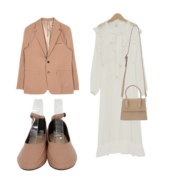 openthedoor standard two button single jacket (3 color) - UNISEX,From Beginning Perfume shirring frill ops_J (size : free),From Beginning Soft stitch mary-jane shoes_K (size : 230,235,240,245,250)등을 매치한 코디