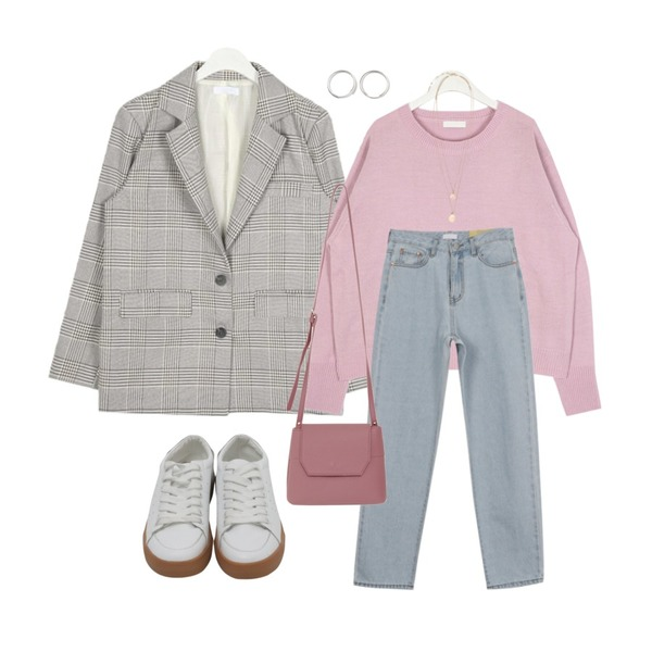 AWAB 비플와이드데님팬츠,AIN plain vintage check jacket,AIN meet spring round knit등을 매치한 코디