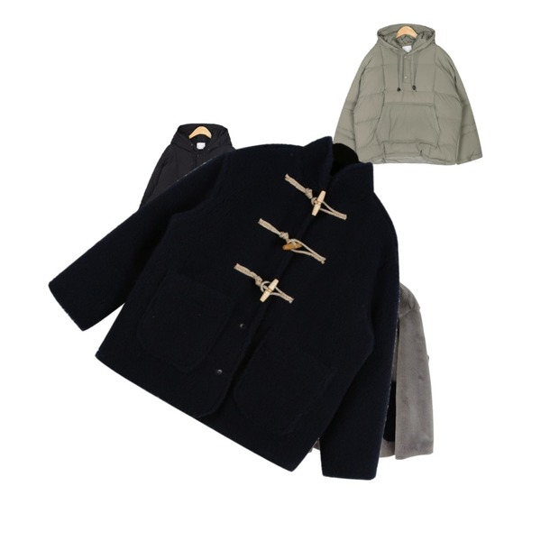 AIN and anorak hoody padding,AIN and anorak hoody padding,AFTERMONDAY cute round button mink jacket (2colors)등을 매치한 코디