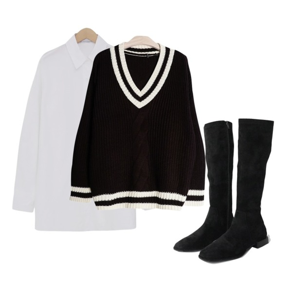 GIRLS RULE 피카소 V넥 니트 (kn633),AFTERMONDAY charming long boots (2colors),From Beginning Pastel boxy cotton shirt_B (size : free)등을 매치한 코디