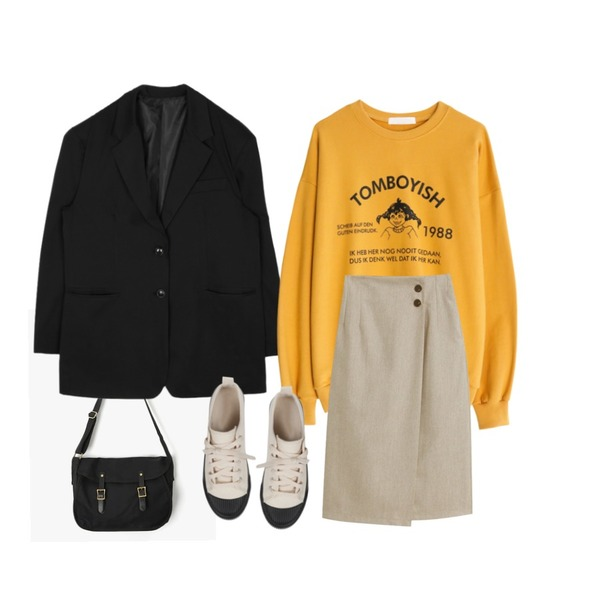 AIN square casual vintage bag,openthedoor over-fit daddy jacket (2 color) - UNISEX,GIRLS RULE 보이쉬 1988 삐삐 맨투맨 (t5846)등을 매치한 코디