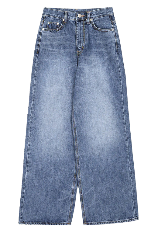 washed wide denim long pants