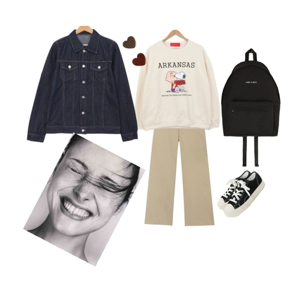 daily monday Simple every day sneakers,BULLANG GIRL 사이좋은친구MTM(기모),common unique RAVE BANDING COTTON PANTS등을 매치한 코디