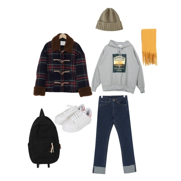 From Beginning Bear check dumble coat_Y (울 70%) (size : free),Zemma World 울 골지비니 (울30%),From Beginning Brown stitch roll up pants_J (size : S,M,L)등을 매치한 코디