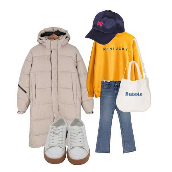 BULLANG GIRL 커버업롱패딩,MASHYELLOW 켄터키 자수 폴라 맨투맨 티 (3colors),From Beginning White real Leather sneakers_J (size : 225,230,235,240,245,250)등을 매치한 코디