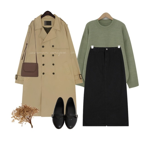 From Beginning Spring round boxy knit_Y (size : free),AIN easy cotton midi skirts (s, m),common unique OVERLY RAGLAN DOUBLE TRENCH COAT등을 매치한 코디