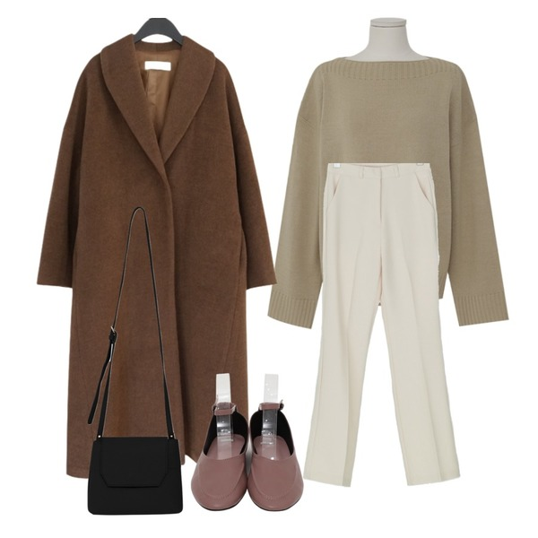 AFTERMONDAY among over fit long coat (2colors),From Beginning Molly soft round knit_K (size : free),BANHARU saint boots-cut slacks등을 매치한 코디