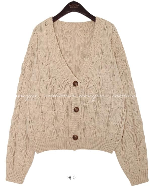 ALL TWIST V NECK KNIT CARDIGAN