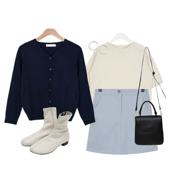 From Beginning Daily cotton mini skirt_B (size : free),AIN daily short sleeve wool knit,BANHARU 1/2 days outer #307등을 매치한 코디