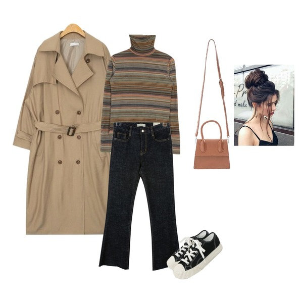 AIN maxi long square belt trench coat (3 colors),moaol rainbow stripe high-neck top (2colors),daily monday Boots cut raw denim등을 매치한 코디
