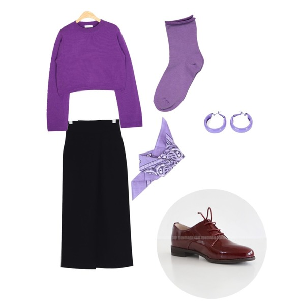 daily monday Season Socks (7color),AIN ador crop knit,From Beginning Table pin-tuck long skirt_H (size : S,M)등을 매치한 코디