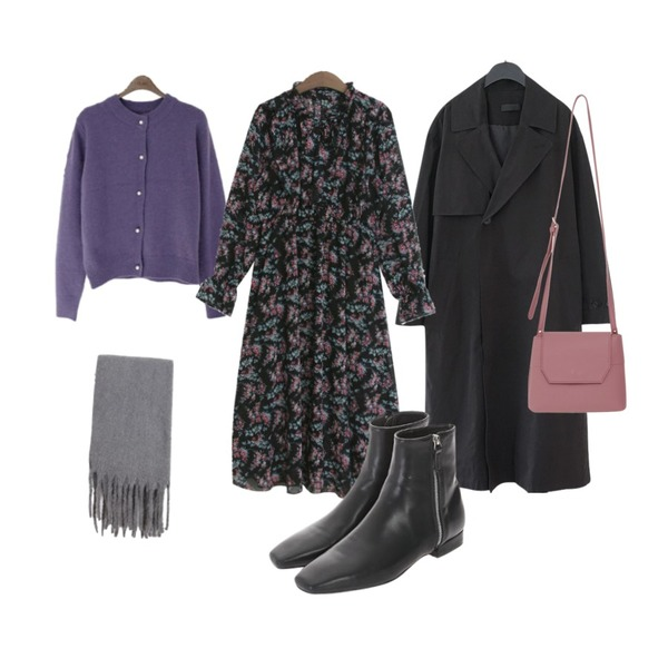 binary01 앙고라 로너 진주가디건,From Beginning Jully cover cross bag_B (size : one),AFTERMONDAY plain trench coat (2colors)등을 매치한 코디