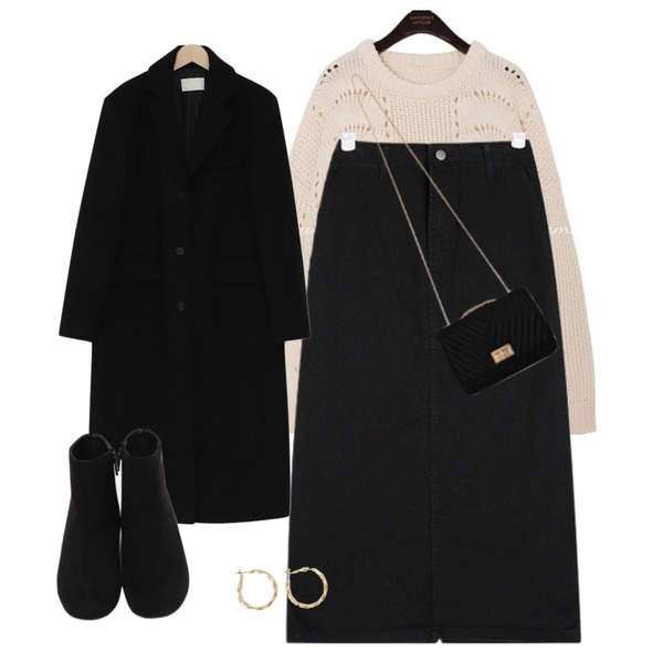 AIN easy cotton midi skirts (s, m),common unique [TOP] CHAPEL PUNCHING ROUND KNIT,From Beginning Single long wool coat_S (울 90%) (size : free)등을 매치한 코디