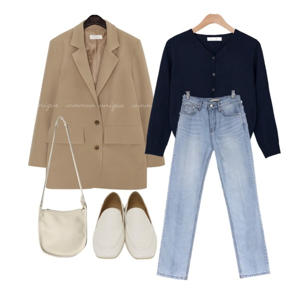 common unique [OUTER] PIEL SINGLE TAILORED JACKET,acomma 파인트 와이드 연청 데님 - pt,BANHARU 1/2 days outer #307등을 매치한 코디