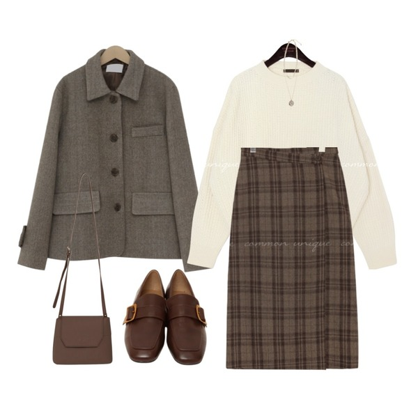 common unique AMONG WOOL CHECK WRAP LONG SKIRT,common unique 5 COLOR DROP ROUND NECK KNIT,From Beginning Hawk herringbone wool jacket_M (울 60%) (size : free)등을 매치한 코디