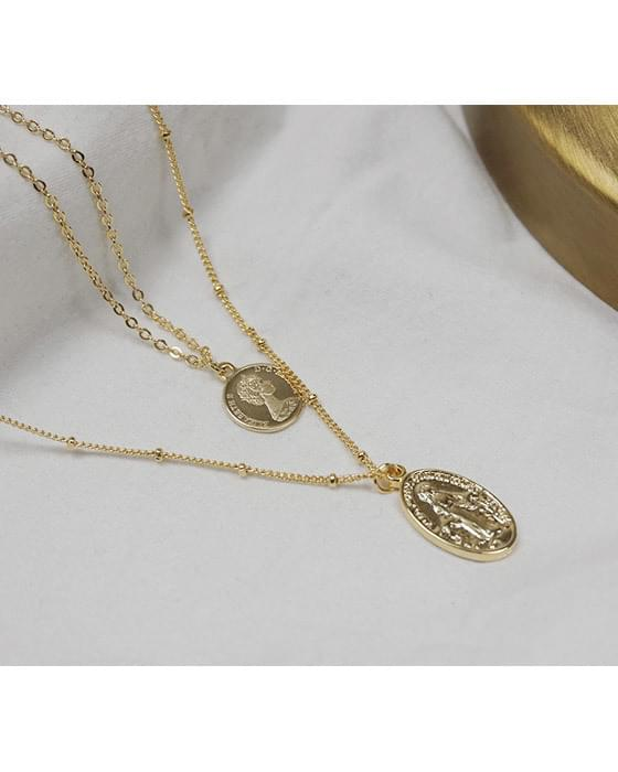 2-stage set coin necklace