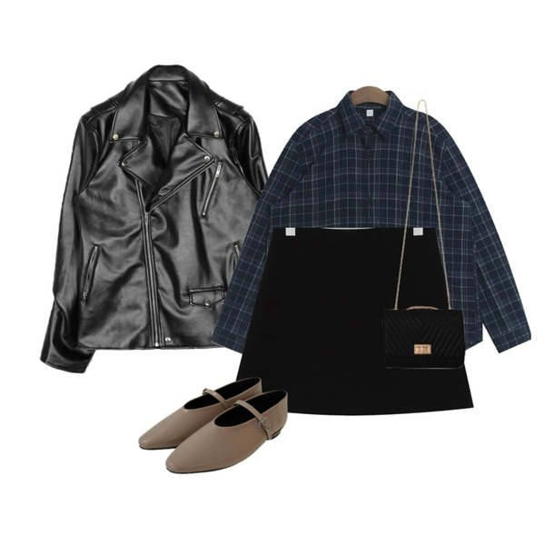 From Beginning Slow simple mini skirt_M (size : S,M),TODAY ME 웨시 체크 셔츠,openthedoor sensual rider jacket등을 매치한 코디