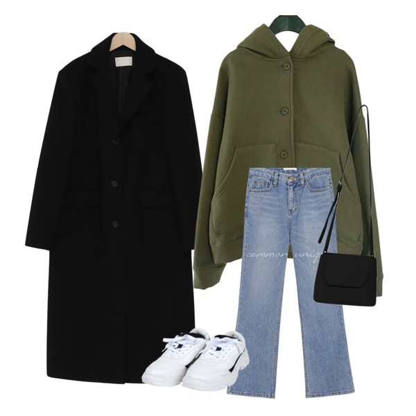 common unique ARMO SEMI BOOTS DENIM PANTS,From Beginning Single long wool coat_S (울 90%) (size : free),AFTERMONDAY casual mood button hood (3colors)등을 매치한 코디