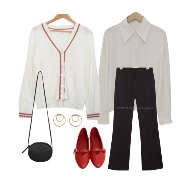 common unique PLENTIFUL SET-UP STRAIGHT SLACKS,BULLANG GIRL 아이리스배색가디건,From Beginning Cong button flow blouse_K (size : free)등을 매치한 코디