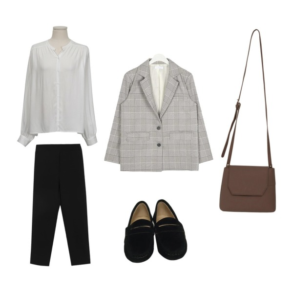 From Beginning Royal shirring rayon blouse_S (size : free),From Beginning Dry sweat penny loafer_S (size : 230,235,240,245,250),AWAB 멜리반밴딩슬랙스등을 매치한 코디