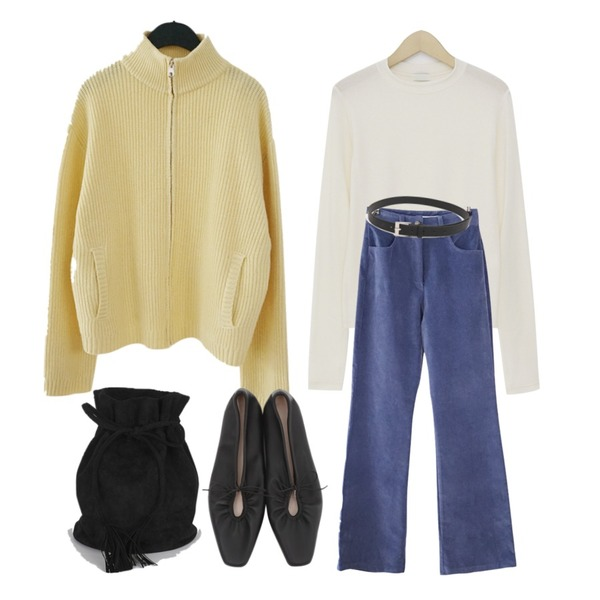 AFTERMONDAY half neck knit zip-up (4colors),From Beginning Elastic warm tencel T_K (size : free),AFTERMONDAY velvet flared pants (2colors)등을 매치한 코디