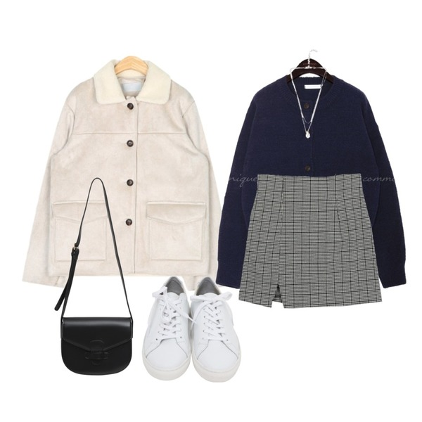 common unique 5 COLOR SPAN ROUND KNIT CARDIGAN,AIN out pocket point mustang,AWAB 엠트체크미니스커트등을 매치한 코디