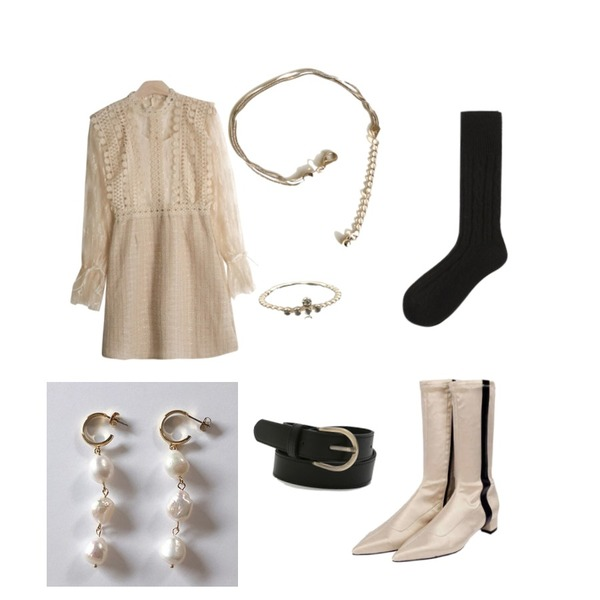 openthedoor pointed line satin middle boots (2 color),common unique [JEWELRY] THREE LINE BRACELET,GIRLS RULE 제니 레이스 트위드원피스 SET (ops1052)등을 매치한 코디