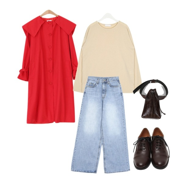 LOVELY SHOES 바비 트렌치 코트,AIN refreshing long sleeve T,openthedoor washed wide denim long pants (2 color)등을 매치한 코디