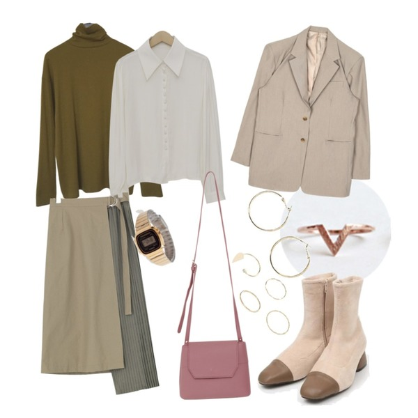 daily monday Simple V ring,AIN corduroy ankle boots (225-250),AFTERMONDAY light woolen pola tee (6colors)등을 매치한 코디