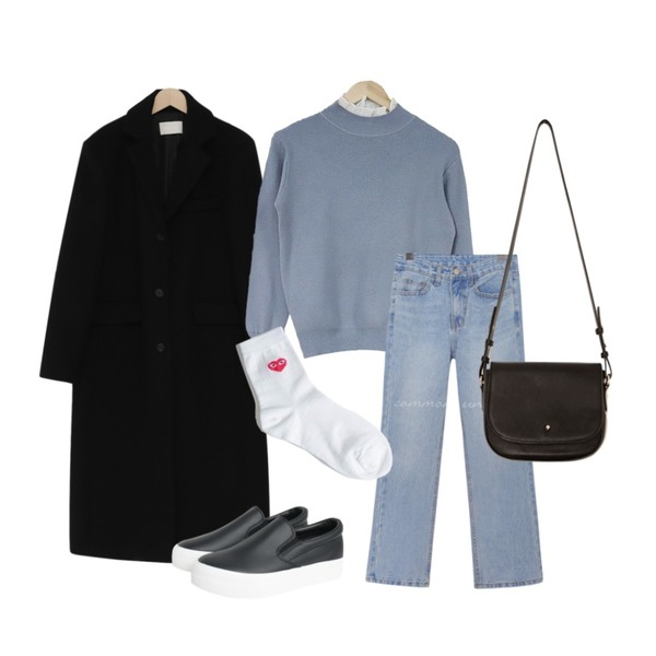 acomma 프릴 소매 진주 - nt (4COLOR),common unique [BOTTOM] WESS SEMI BOOTS DENIM PANTS,From Beginning Single long wool coat_S (울 90%) (size : free)등을 매치한 코디