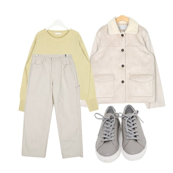 daily monday Boyish casual cotton pants,AIN meet spring round knit,AIN out pocket point mustang등을 매치한 코디