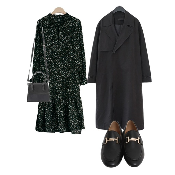 From Beginning Classic mood buckle loafer_B (size : 225,230,235,240,245,250),AFTERMONDAY plain trench coat (2colors),GIRLS RULE 잔꽃 라라 리본 원피스 (ops1054)등을 매치한 코디