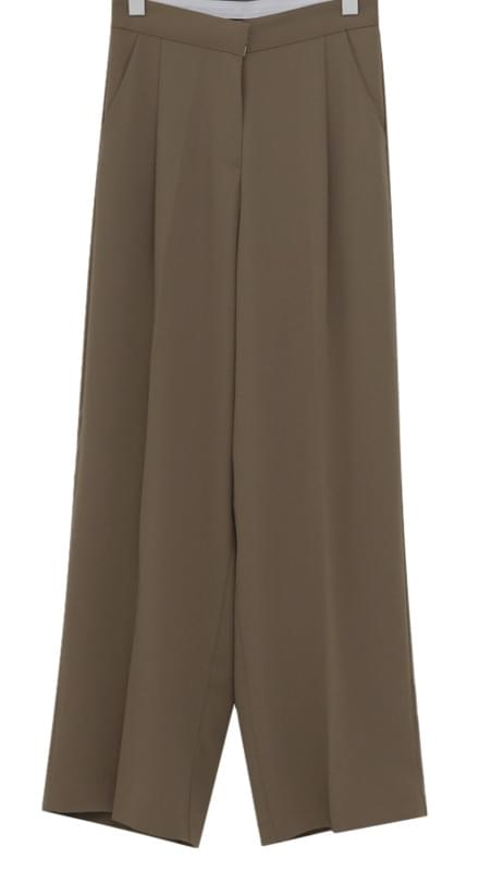 Spring pin-tuck wide slacks_M