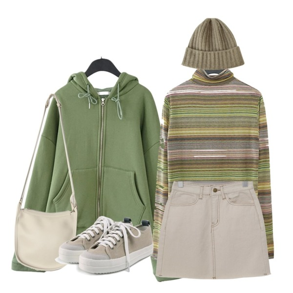 AFTERMONDAY rainbow pola tee (2colors),AFTERMONDAY casual warm hood (3colors),From Beginning Casual cutting mini skrit_S (size : S,M,L)등을 매치한 코디