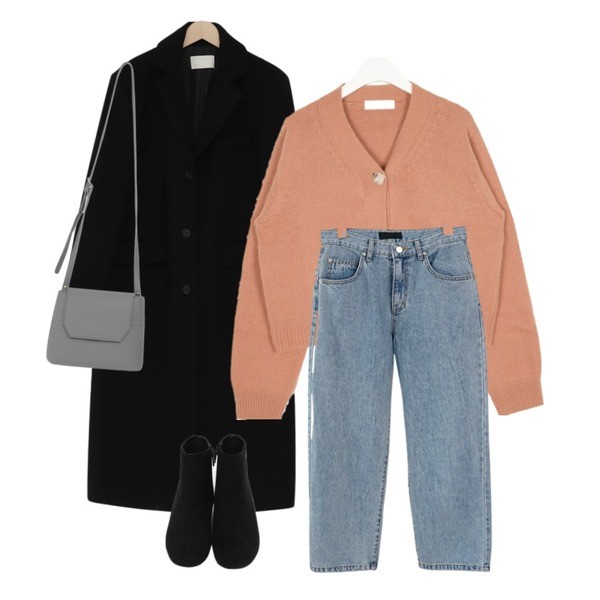 AIN whether angora crop cardigan,From Beginning Single long wool coat_S (울 90%) (size : free),AFTERMONDAY semi crop daily denim pants등을 매치한 코디