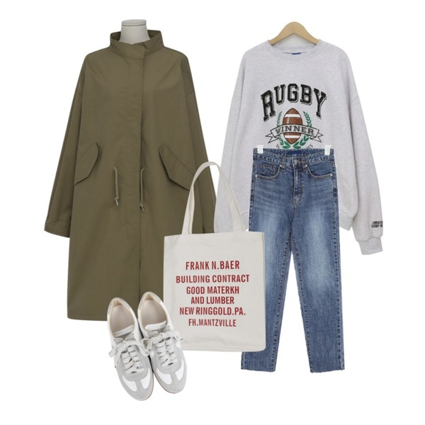 From Beginning Spell boxy safari jumper_S (size : free),AIN three straight denim pants (25-29),From Beginning Spring rugby boxy mtm_J (size : free)등을 매치한 코디