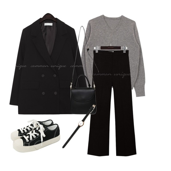 common unique MARITA SEMI BOOTS CUT SLACKS,common unique MOMS MANNISH DOUBLE JACKET,biznshoe Wool v knit (4colors)등을 매치한 코디