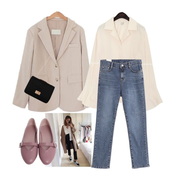 ootd,common unique [TOP] BELLO CUFFS SLIT BLOUSE,LOVELY SHOES 스탠드 자켓등을 매치한 코디