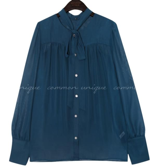 ROSA CRYSTAL TIE SEETHROUGH BLOUSE