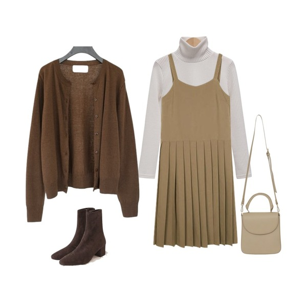 From Beginning Crescent soft pola knit_B (size : free),AFTERMONDAY autumn soft cardigan set (3colors),AIN wonder pleats ops등을 매치한 코디