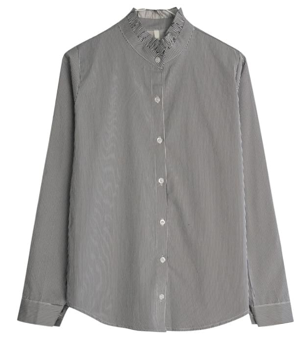 Bubble Stripe Frill Shirt