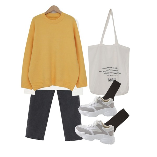 From Beginning Cement washing charcoal pants_S (size : S,M,L),From Beginning Light lettering eco bag_H (size : one)[02월 25일 입고 후 순차적배송],AIN tencel muse T등을 매치한 코디